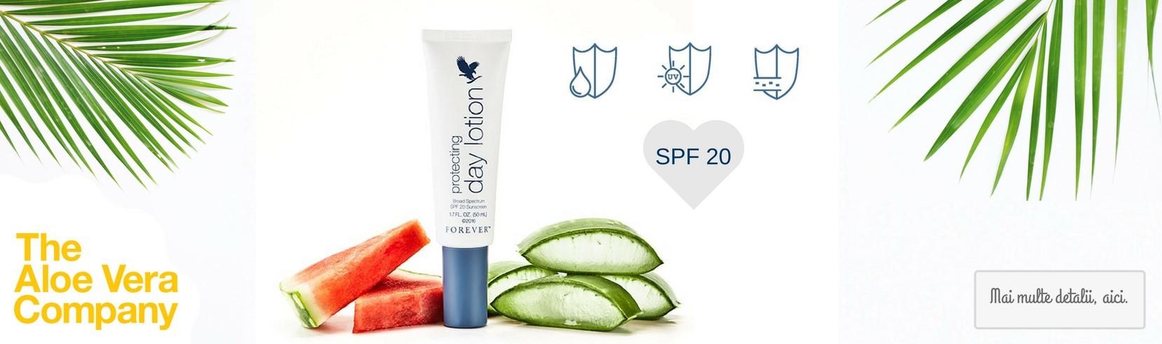 protecting day lotion - Protejeaza tenul de efectele nocive ale razelor UV, cu agenți minerali de protecție solară cu spectru larg.